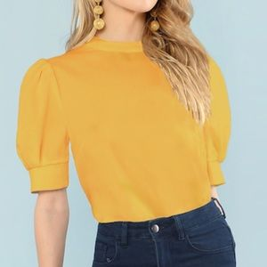 Stein SHEIN  Button Keyhole Back Puff Sleeve Top